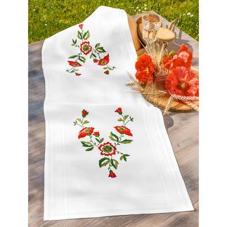 Tischläufer mit eingewebtem Zierrand - Mohnblumen
