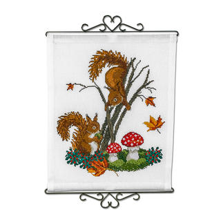 Wandbehang - Eichhörnchen Stickideen in warmen Herbstfarben