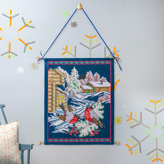 Traditioneller Wandbehang - Wintervögel Stickideen für die kalte Winterzeit