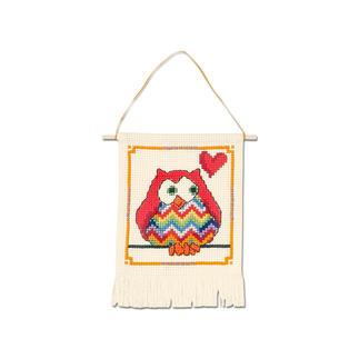 Wandbehang - Rote Eule My first Kit – Sticken für die ganz kleinen Einsteiger.