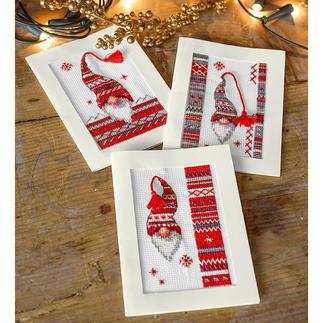 Grusskarten-Set - Weihnachts-Wichtel 3 Weihnachtskarten mit Umschlägen im Set.