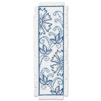 Lesezeichen - Blaue Blumen Stickereien in Blau-Weiss – luftig frisch und dennoch zeitlos klassisch.
