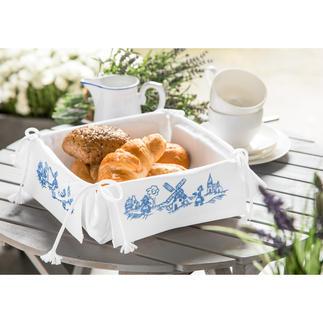 Brotkörbchen - Holländische Mühlen Stickereien in Blau-Weiss – luftig frisch und dennoch zeitlos klassisch.