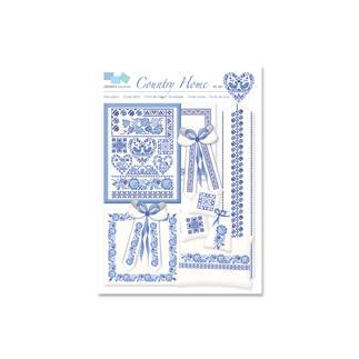 Kreuzstich-Zählmuster-Vorlagen - Country Home Stickereien in Blau-Weiss – luftig frisch und dennoch zeitlos klassisch.
