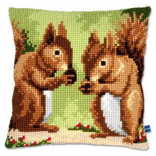 Kreuzstichkissen - Zwei Eichhörnchen