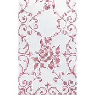 Feine Kreuzstich-Tischdecke - Rosen – damit wird jeder Tisch zur festlichen Tafel.