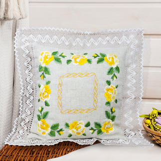 Tischläufer und Kissen - Gelbe Rosen