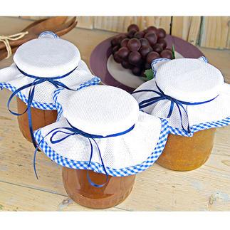3er-Set Marmeladenglasdeckchen zum Besticken