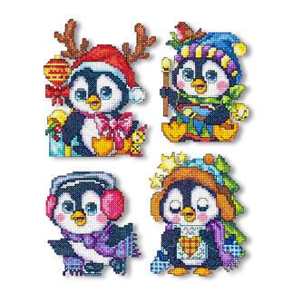 4 Weihnachtsanhänger im Set - Pinguine Kreuzstich-Anhänger