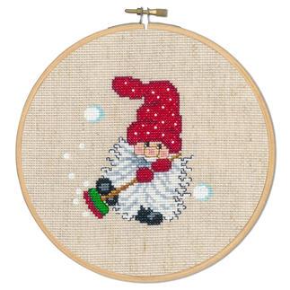 Stickbild - Wichtel mit Besen Die skandinavische Weihnachtstradition: putzige Wichtel.