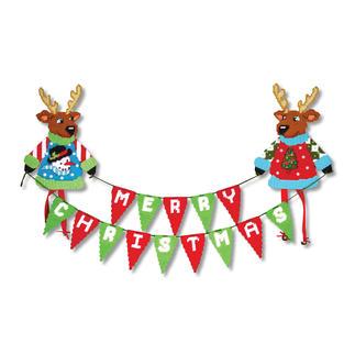 Banner, Wand- oder Türdeko - Rentier Stickideen für die schöne Weihnachtszeit.