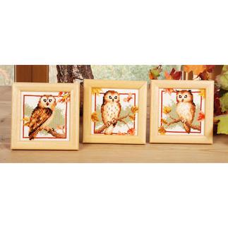 3 Miniaturen im Set - Eulen im Herbst Stickideen in warmen Herbstfarben.