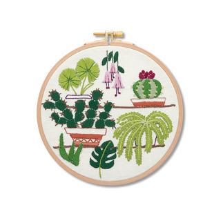 Stickbild mit Holzrahmen - Kaktus Urban Jungle – Dschungelfeeling für Ihr Zuhause