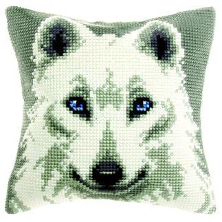 Kreuzstichkissen - Polarwolf Stick-Ideen zur Winterzeit