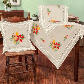 Tischwäsche mit Makramee-Spitze - Lichterglanz Tischdecken, Tischläufer und Kissen