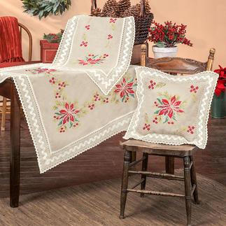 Tischwäsche mit Makramee-Spitze - Weihnachtsstern Tischdecken, Tischläufer und Kissen