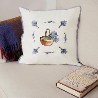 Halbleinen-Kissen - Lavendel-Körbchen