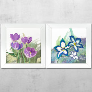 Watercolour-Styles Bilder-Set - Blumen Watercolour-Styles – Sticken mit 3D-Effekt.