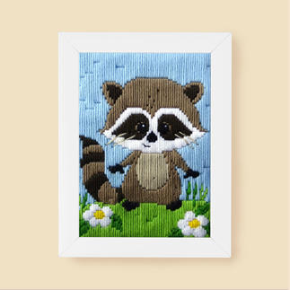 Longstichbild - Waschbär Tierbilder für Kinder – im Longstich ganz einfach gestickt.