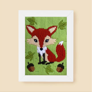 Longstichbild - Fuchs Tierbilder für Kinder – im Longstich ganz einfach gestickt.