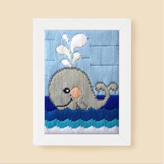 Longstichbild - Wal Tierbilder für Kinder – im Longstich ganz einfach gestickt.