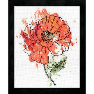 Kreuzstichbild - Peach Floral / Mohnblume
