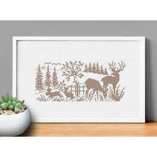 Kreuzstichbild - Tiere im Wald