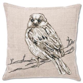 Leinen-Stickkissen - Vogel