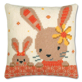 Kreuzstichkissen - Süsse Kaninchen
