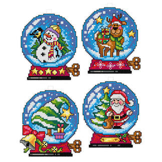 4 Weihnachtsanhänger im Set - Schneekugeln