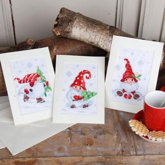 Grusskarten-Set - Wichtel 3 Weihnachtskarten mit Umschlägen im Set.