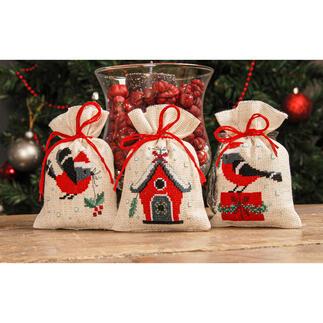 3 Säckchen im Set - Weihnachtsvögel
