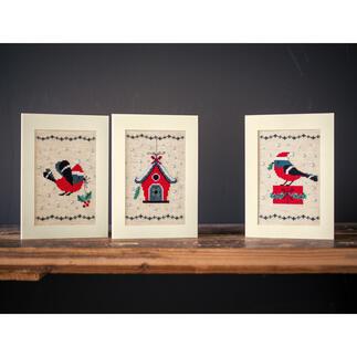 3 Weihnachtskarten im Set - Weihnachtsvögel