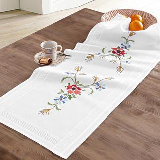 Tischwäsche mit eingewebtem Zierrand - Wiesenblumen