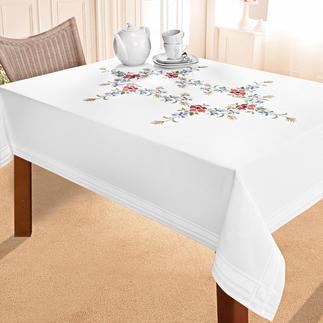 Tischdecke mit eingewebtem Zierrand - Wiesenblumen