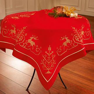 Kreuzstich-Tischdecken oder -Partnerläufer Pflegeleichte Tischwäsche mit glitzerndem Metall-Effektgarn.