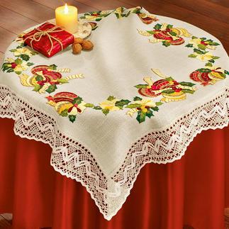Tischwäsche und Kissen mit Makramee-Spitze - Weihnachtskugeln Stickideen zur Weihnachtszeit.