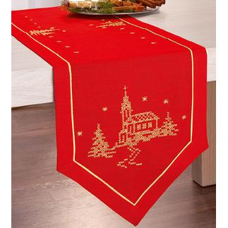 Tischwäsche mit Metall-Effektgarn - Kirche Pflegeleichte Tischwäsche mit glitzerndem Metall-Effektgarn.