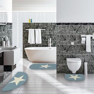 Badserie - White Star Bad-Ideen im angesagten Sternedesign- als Garnitur oder Badteppich.