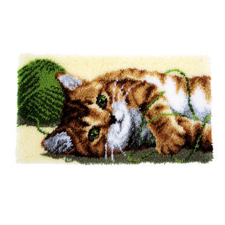 Wandbehang - Spielende Katzen Knüpfideen – schnell und leicht.