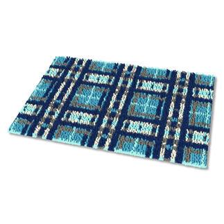 Fussmatte - Kleinkariert, Blau