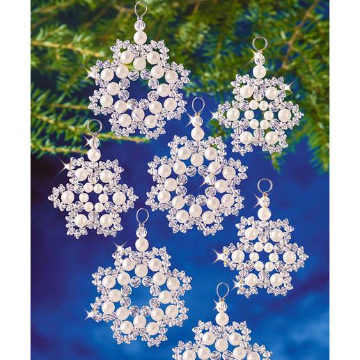 12 Perlenschneeflocken im Set, Ø 5 cm und 6 cm