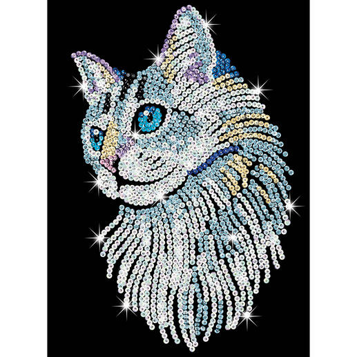 Paillettenbild für Erwachsene - Weisse Katze