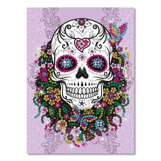 Paillettenbild für Teens - Flower Skull