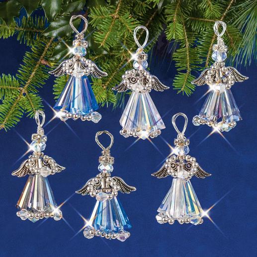 6 Kristallengel im Set, 4 cm, Silberfarben