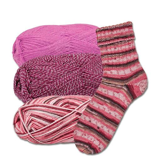 3 x 100 g Freizeit von Junghans-Wolle im Sparpaket Das bewährte Strumpfgarn von Junghans-Wolle, jetzt als Komplettpackung zum Sparpreis.