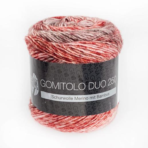 Gomitolo Duo 250 von Lana Grossa, 904 Pastell-/Altrosa/Rot/Weinrot/Burgund/Graubraun