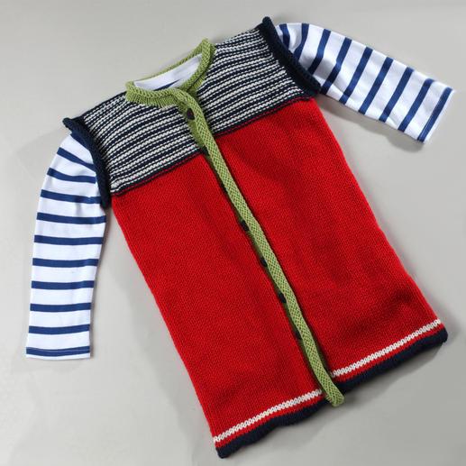 Anleitung 444/3, Schlafsack mit Rollrandblende aus Merino-Cotton von Junghans-Wolle