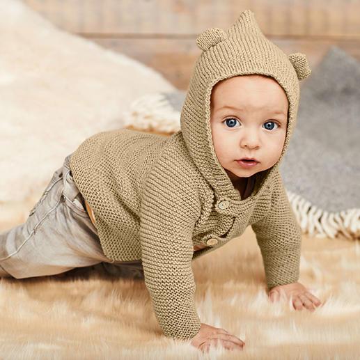 Anleitung 077/8, Baby Jacke mit Kapuze aus Baby Classic dk von Rico Design
