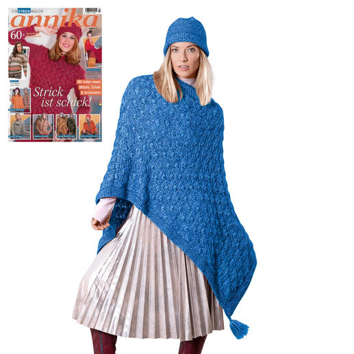 Anleitung 195/8, Poncho & Mütze aus Alpaca-Cotton von Junghans-Wolle